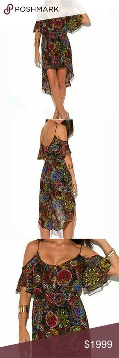 Coming! Colorful Abstract Dress! So chic, so beautiful! Off the shoulder style! High low skirt! Perfect dress for summer occasions! Happy shopping! Glam Vault  Dresses High Low