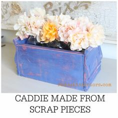 Make a Flower Container or Silverware Caddie from Scrap Wood and Moulding!  Easy DIY Video in post.  I used CeCe Caldwell's 100% Natural Chalk + Clay Based paints in Jersey Tomato and Maine Harbor Blue.  Sealed with Endurance.