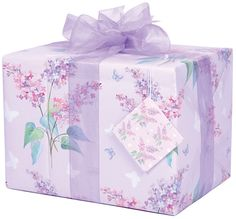 Lilac and Butterflies Giftwrap with matching tag