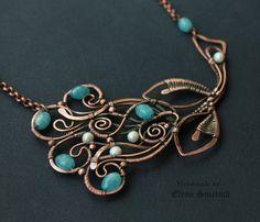 Wire wrap necklace Wire wrapped jewelry by LenaSinelnikArt