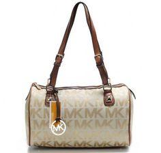 Michael Kors Logo Large Khaki Shoulder Bags [mk_1732]