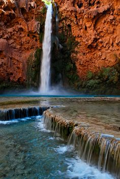Mooney Falls, Havasupai, Arizona. Said to be the Most peaceful place in the world, but I refuse to support Arizona at all by going to the state or near it.