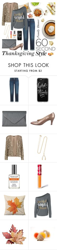 """Thankful for Family Dinners"" by inspiredsara ❤ liked on Polyvore featuring Casetify, John Lewis, Salvatore Ferragamo, Tart, Jennifer Meyer Jewelry, Demeter Fragrance Library, Lime Crime and familydinner"