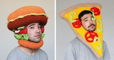 This Guy Crochets Hilarious Food Hats And Wears Them Himself | Bored Panda