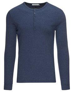 Samsøe Samsøe langermet granddad T-skjorte - slim fit - Blå   www.stylepit.no