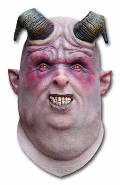 Demon Gula Mask with the fat face, the demoniac eyes and the curved horns is a full head latex mask, carefully painted by hand. Horribly beautiful mask!