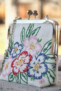 Vintage Embroidered Linen Clutches at Pink Attic Cat