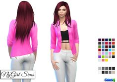NyGirl Sims 4: Suit Coat with Fashion Crop Top and Straight Leg Dress Pant