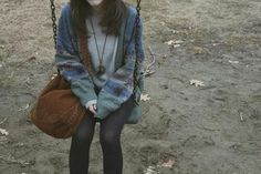 Soft grunge sweater and tights