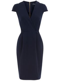 Navy cap sleeve dress  Price:$79.00  Color:blue  Item code:60000885  Navy cross-over dress with cap sleeves. Length 95cm. 63% Polyester,33% Viscose,4% Elastane. Machine washable.