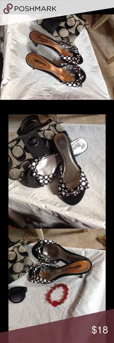 Betty Boop Rockabilly Kitten Heels NWOT Black and White Betty Boop Womens shoes UNLISTED Betty Boop ROCKABILLY polka dot Kitten Slide Sandal size 10 Unlisted KittenHeels New without tags! Betty Boop Shoes Sandals