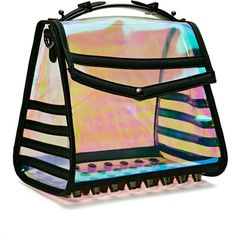 Holo At Me Bag (€52) ❤ liked on Polyvore featuring bags, handbags, shoulder bags, party purse, hologram purse, hand bags, party handbags and purse shoulder bag