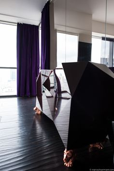 Find Boca Do Lobo at new amazing project by Vision Apartment for Daniel Burlacescu in #Warsaw #interiordesign #modern BOCA DO LOBO Diamond sideoard - www.bocadolobo.com