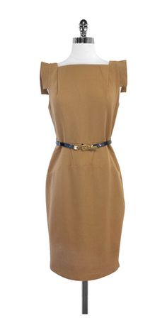 Single Camel Belted Cap Sleeve Sheath Dress