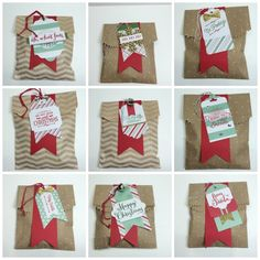 Use Stampin' Up! Oh What Fun Tag Project Kit along with coordinating stamp set to create these cute cookie bags for your Christmas treat giving - kit is on sale now from Kriss Huels - http://stampwithkriss.com/oh-what-fun-tag-project-kit