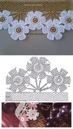 New Crochet Lace Gloves Pattern Inspiration Ideas Crochet Gloves Pattern, Crochet Edging Patterns, Crochet Lace Edging, Crochet Motifs, Crochet Diagram, Crochet Squares, Crochet Designs, Crochet Flowers, Knitting Patterns
