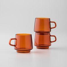 amber glass mugs Home Decor Accessories, Decorative Accessories, Wabi Sabi, Kitchenware, Tableware, Serveware, American Manufacturing, Heat Resistant Glass, Amber Glass