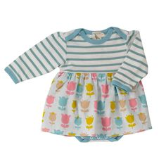 Body and Skirt for Baby Girl - Tulip Print - Baby Girl Dresses - Girls - Little Chickie