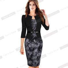 Nice-forever One-piece Faux Jacket Brief Elegant Patterns Work dress Office Bodycon Female 3/4