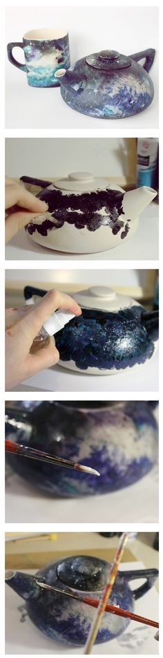 How to make cosmic design with acrylic paints