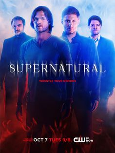 The CW's released a new poster for the season of Supernatural starring Jensen Ackles as Dean, Jared Padalecki as Sam, Misha Collins as Castiel, and Mark Sheppard as Crowley. Supernatural Series, Supernatural Season 10, Supernatural Poster, Supernatural Beings, Castiel, Netflix Supernatural, Supernatural Wallpaper, Supernatural Dean, Winchester Brothers