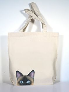 3776de6dc56 Cat Tote Siamese Cat Canvas Tote Personalized Cat by ArtByJulene Desk With  Drawers, Cat Colors