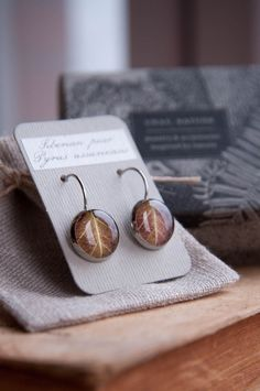 Real leaf earrings  brown resin jewelry  rustic by UralNature