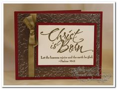 Christ is Born Metal Embossed Christmas Card by ratona27 - Cards and Paper Crafts at Splitcoaststampers