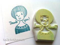 sello de goma gracias. sello talladas a mano. por talktothesun