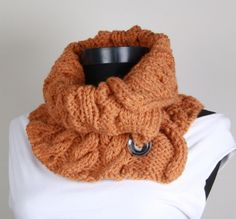 Knitting Neckwarmer Orange  buttons  collar scarf by SRdesign, $28.00
