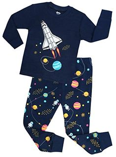Amazon.com  shelry Boys Rocket Pajamas Children Christmas Pants Set 100%  Cotton Size 2-7 Years  Clothing. Boys Pajamas 917e552b7