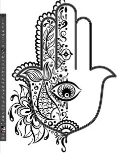 half design pattern reflect tool stroke weight difference group G illustrator Hand of Mariam Fatima  Hand Khamsa Hamesh sketch illustration miss chatz artwork pen blue fish hand palm eye flower pattern heart design tshirt photoshop sketch half pattern