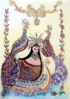 bergüzâr ( şahmeran ) Snake Goddess, Phoenix, Turkish Art, Baboon, Mythological Creatures, Painting Lessons, Asian Art, Mythology, Fairy Tales