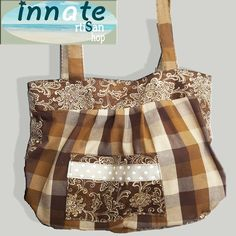 Brown plaid and java print tote by InnateArtisanShop on Etsy