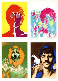 """In 1967, the Beatles record label contracted Richard Avedon to design these incredible posters. Distribution rights were given to several different outlets in different countries. In the U.S., """"LOOK"""" magazine is where you could order your set with a pullout tab, and send away for your set to come in the mail. They were also distributed in England through the Daily Express and in the rest of Europe through """"Stern"""" magazine. This set of four comes from """"Stern"""" magazine in Germany."""