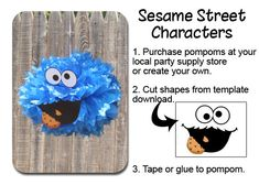 Cookie Monster Pom Pom Face Template Sesame Street Party                                                                                                                                                      More