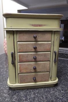 OLD French Farmhouse Dresser Armoire hand painted in mustard green with French Damask Paper, Jewelry Box