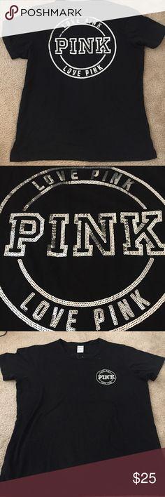 New Victoria's Secret PINK sequin Tshirt sz L New never worn black Tshirt with silver sequins. PINK Victoria's Secret Tops Tees - Short Sleeve