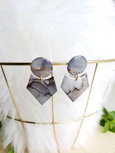 Gray/Gold Geometric Alcohol Ink Earrings – Hand Crafted – Gold Plated – Modern – Geometric – Unique – Statement Earrings-Jenn Robertson Art - New Sites Grey And Gold, Gray, Alcohol Ink Jewelry, Statement Earrings, Stud Earrings, Resin Jewelry, Unique Jewelry, Butterfly Earrings, Resin Crafts