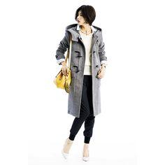 女っぽく着こなしたい 本格仕様ミネラルグレイのウール混ダッフルコート フェリシモ