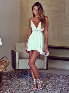 New Dress White Short Casual Fashion 2015 Ideas Trendy Dresses, Tight Dresses, Sexy Dresses, Short Dresses, Bandage Dresses, Pernas Sexy, Sexy Women, Sexiest Women, Backless Mini Dress