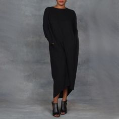 Black Crane Pleated Cocoon Dress in Black front
