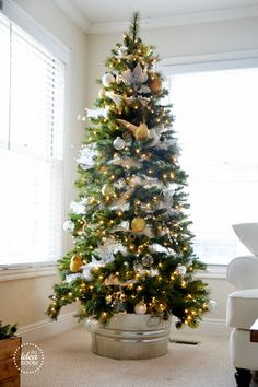 Beautiful Christmas Tree--I really like how it is sitting in a metal tub.