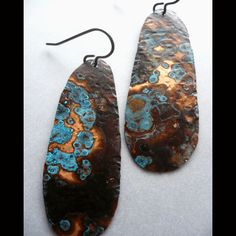 Hand cut and hammered patinaed copper earrings