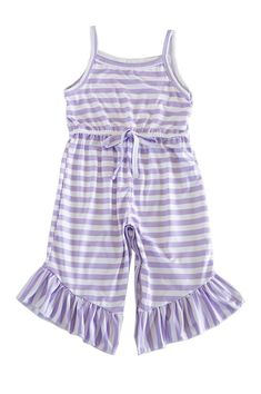 Striped Jumpsuit Romper Ruffle Jumpsuit, Striped Jumpsuit, Little Diva, Baby Boutique, Ankle Length, Her Style, Warm Weather, Cotton Spandex, Toddler Girl