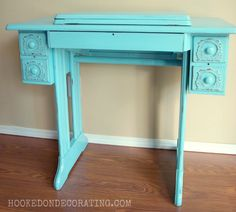 Aqua sewing cabinet by Hooked on Decorating
