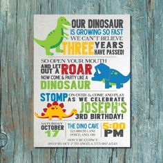 Cute dinosaur party invitations via Bondville blog kids parties