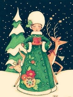 Vintage Christmas - Mary Engelbreit-A Small Gift Noel Christmas, Vintage Christmas Cards, Christmas Pictures, Christmas Crafts, Xmas, Christmas Printables, Mary Engelbreit, Christmas Illustration, Small Gifts