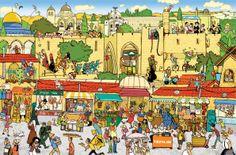 """רחלי שלו . Rachel Shalev . ירושלים, שוק מחנה יהודה . Jerusalem, Mahane Yehuda Market (new book: """"Israel Wimmelbuch"""")"""