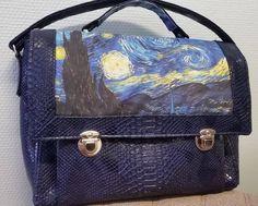 Sac Quadrille cousu par DOMINIQUE - Tissu(s) utilisé(s) : Simili bleu, jean imprimé - Patron Sacôtin : Quadrille